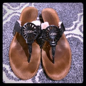 UGG Black Leather Sandals!